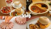 日常生活VLOG#51   做饭   烤贝果   桃花酥   番茄牛油鸳鸯火锅   清迈的餐具开箱   下午茶   丰富的酸奶杯   用心生活的一天