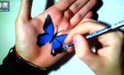 手掌艺术绘图3D蝴蝶