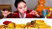 韩国弗兰西斯卡吃播炸煎饼,好吃停不下来了!