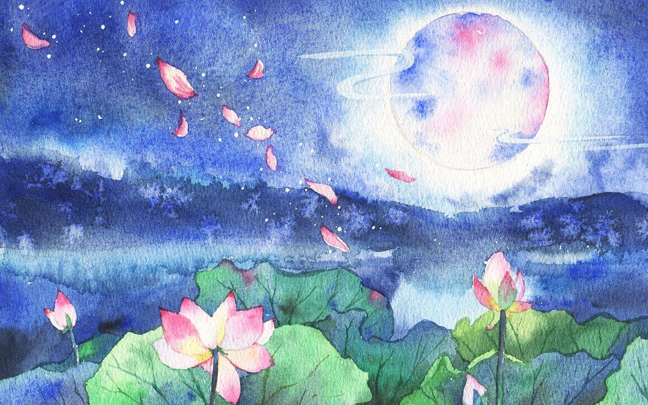 【水彩】YAO#40.荷月/啦啦啦快来看blingbling的月亮风景插画~