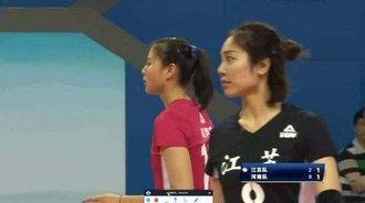 惠若琪开局强发球轮,江苏女排3比1领先河南女排