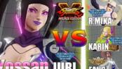 街霸5AE Yossan (Juri) vs Nazo chanko (R.Mika) & Kazari (Karin) & Haku (Fang)
