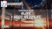 Arnold24x24 | REDALiCE - ALiVE [Just two] + HD, DT (Natsu, 7.63) 99.22% FC #3 |