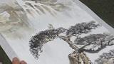 山水画欣赏:国画老师演示山水画着色