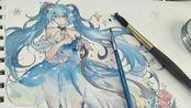 【摸锟】如何在素描纸上用水彩画只初音