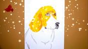 史努比的原型比格猎犬,5分钟学会一幅画,高鳍红剑作品-油画棒画动物-我爱高鳍红剑