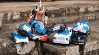 白色变形金刚合集 变形警车珀利 托宝变形机器人 变形汽车人玩具