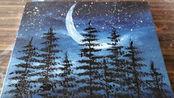 手工绘画教程,弯月风景画的简单画法!