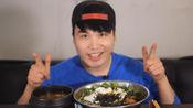 小胖哥哥吃播,20分钟吃下萝卜缨拌饭、海鲜大酱汤、牛奶、手指饼