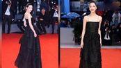 钟楚曦亮相威尼斯红毯 穿吊带黑裙优雅冷艳