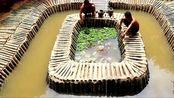 野外生活,农村男子的游泳池建好了,这手艺真是太好了!