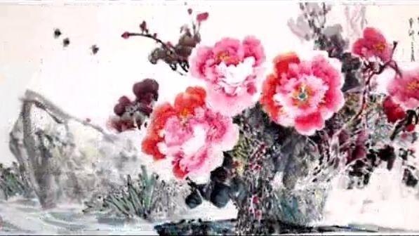 老电影《红牡丹》主题曲蒋大为演唱《牡丹之歌》与蔡立安写意牡丹
